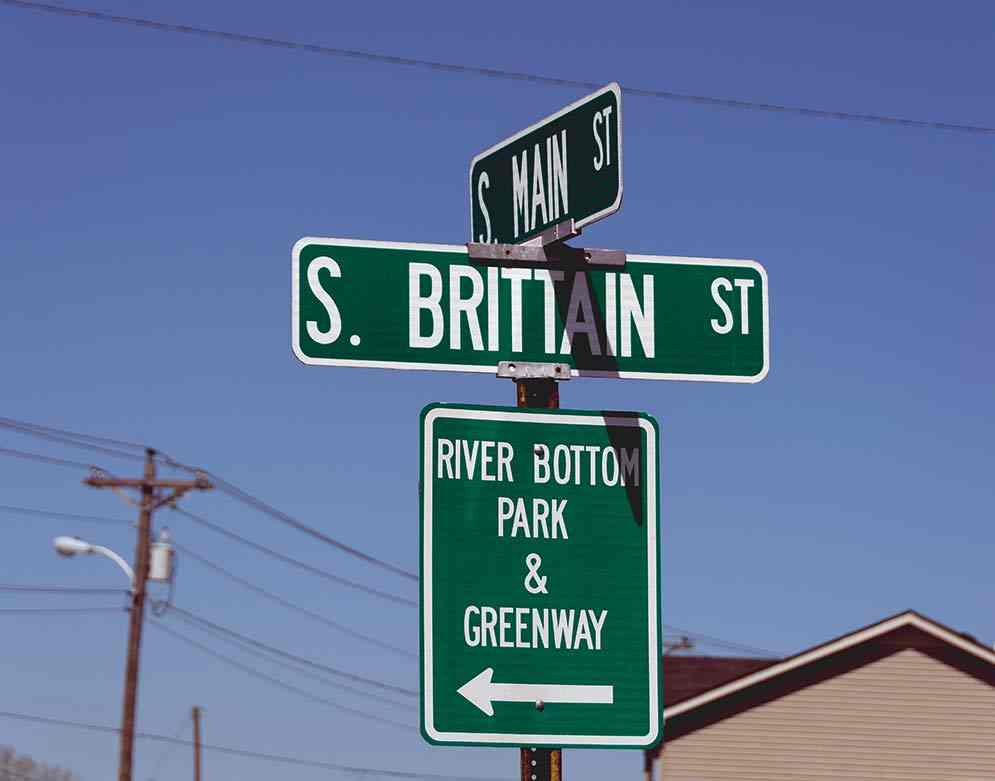 Main Street and South Brittain Street is the entrance to River Bottom Park in Shelbyville.